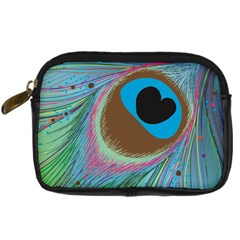 Peacock Feather Lines Background Digital Camera Cases