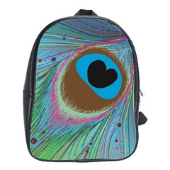 Peacock Feather Lines Background School Bags(Large)