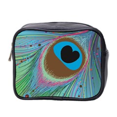 Peacock Feather Lines Background Mini Toiletries Bag 2-Side