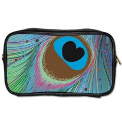 Peacock Feather Lines Background Toiletries Bags