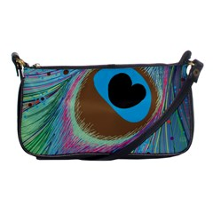 Peacock Feather Lines Background Shoulder Clutch Bags