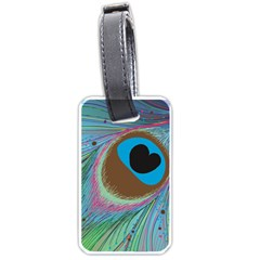 Peacock Feather Lines Background Luggage Tags (One Side)