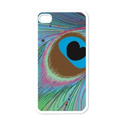 Peacock Feather Lines Background Apple iPhone 4 Case (White)