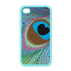 Peacock Feather Lines Background Apple iPhone 4 Case (Color)