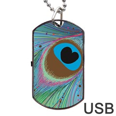 Peacock Feather Lines Background Dog Tag USB Flash (Two Sides)