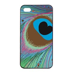 Peacock Feather Lines Background Apple iPhone 4/4s Seamless Case (Black)