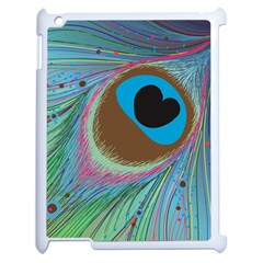 Peacock Feather Lines Background Apple iPad 2 Case (White)