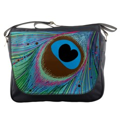 Peacock Feather Lines Background Messenger Bags