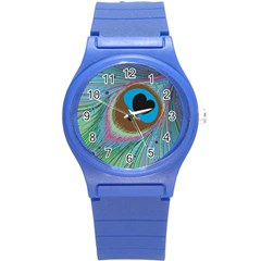 Peacock Feather Lines Background Round Plastic Sport Watch (S)