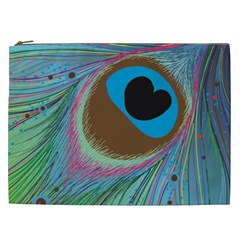 Peacock Feather Lines Background Cosmetic Bag (xxl)