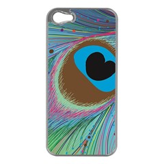 Peacock Feather Lines Background Apple iPhone 5 Case (Silver)
