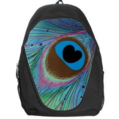 Peacock Feather Lines Background Backpack Bag