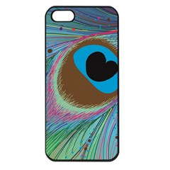 Peacock Feather Lines Background Apple iPhone 5 Seamless Case (Black)