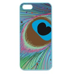 Peacock Feather Lines Background Apple Seamless Iphone 5 Case (color)