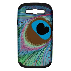 Peacock Feather Lines Background Samsung Galaxy S III Hardshell Case (PC+Silicone)