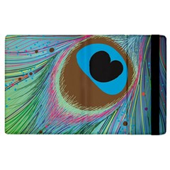 Peacock Feather Lines Background Apple Ipad 2 Flip Case