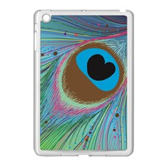 Peacock Feather Lines Background Apple iPad Mini Case (White)