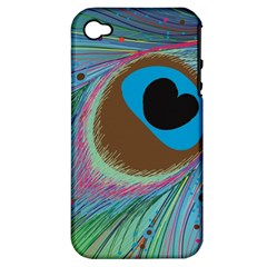 Peacock Feather Lines Background Apple iPhone 4/4S Hardshell Case (PC+Silicone)