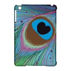 Peacock Feather Lines Background Apple iPad Mini Hardshell Case (Compatible with Smart Cover)