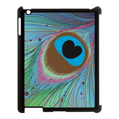 Peacock Feather Lines Background Apple iPad 3/4 Case (Black)