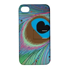 Peacock Feather Lines Background Apple iPhone 4/4S Hardshell Case with Stand