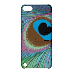 Peacock Feather Lines Background Apple iPod Touch 5 Hardshell Case with Stand