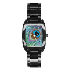 Peacock Feather Lines Background Stainless Steel Barrel Watch