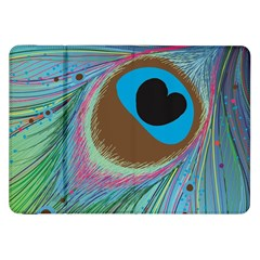 Peacock Feather Lines Background Samsung Galaxy Tab 8.9  P7300 Flip Case