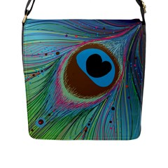 Peacock Feather Lines Background Flap Messenger Bag (L)