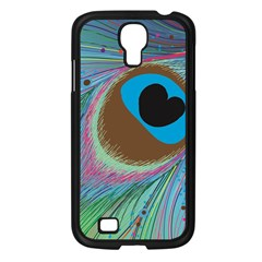 Peacock Feather Lines Background Samsung Galaxy S4 I9500/ I9505 Case (Black)