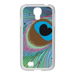 Peacock Feather Lines Background Samsung GALAXY S4 I9500/ I9505 Case (White)