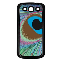 Peacock Feather Lines Background Samsung Galaxy S3 Back Case (Black)