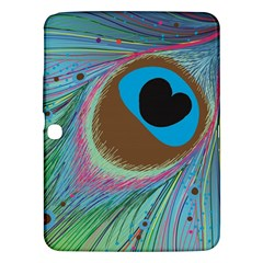 Peacock Feather Lines Background Samsung Galaxy Tab 3 (10.1 ) P5200 Hardshell Case