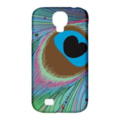 Peacock Feather Lines Background Samsung Galaxy S4 Classic Hardshell Case (pc+silicone)