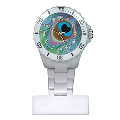 Peacock Feather Lines Background Plastic Nurses Watch