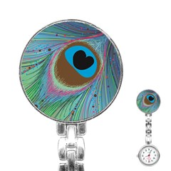 Peacock Feather Lines Background Stainless Steel Nurses Watch