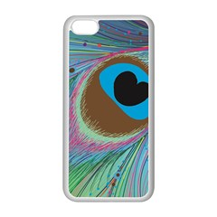 Peacock Feather Lines Background Apple iPhone 5C Seamless Case (White)
