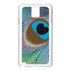 Peacock Feather Lines Background Samsung Galaxy Note 3 N9005 Case (White)
