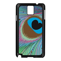 Peacock Feather Lines Background Samsung Galaxy Note 3 N9005 Case (Black)