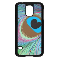 Peacock Feather Lines Background Samsung Galaxy S5 Case (Black)