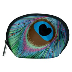 Peacock Feather Lines Background Accessory Pouches (Medium)