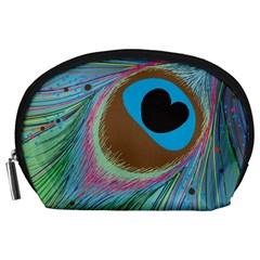 Peacock Feather Lines Background Accessory Pouches (Large)