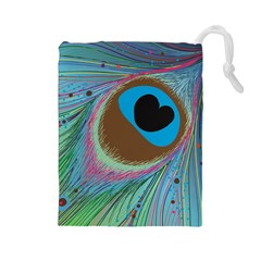 Peacock Feather Lines Background Drawstring Pouches (Large)