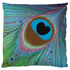 Peacock Feather Lines Background Large Flano Cushion Case (one Side)