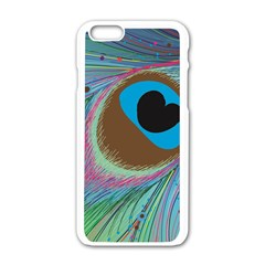 Peacock Feather Lines Background Apple iPhone 6/6S White Enamel Case