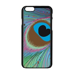 Peacock Feather Lines Background Apple iPhone 6/6S Black Enamel Case