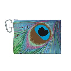 Peacock Feather Lines Background Canvas Cosmetic Bag (M)