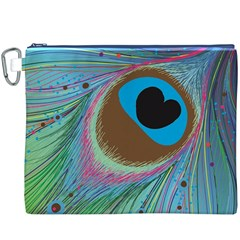 Peacock Feather Lines Background Canvas Cosmetic Bag (XXXL)