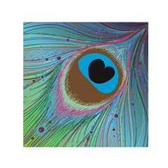 Peacock Feather Lines Background Small Satin Scarf (Square)