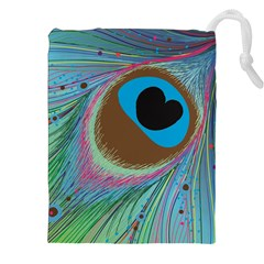 Peacock Feather Lines Background Drawstring Pouches (xxl)